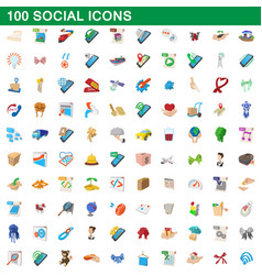 100 social icons set cartoon style vector image vector image