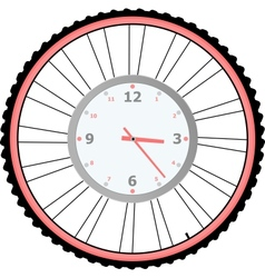 clock on bike wheel isolated on white vector image