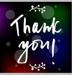handwritten thank you words vector image