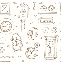 seamless pattern doodle sketch clocks and watches vector image vector image