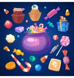 Set of colorful halloween sweets and candies icons vector