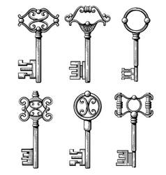 Vintage medieval keys antique chaves vector image vector image