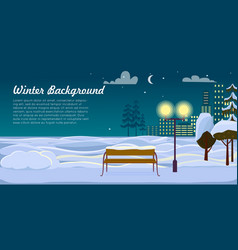 winter background park landscape christmas night vector image