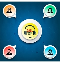 Call center user support Design elements for vector image vector image