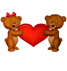 Couple baby bear holding red heart vector image