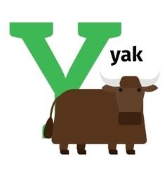 English animals zoo alphabet letter Y vector image vector image