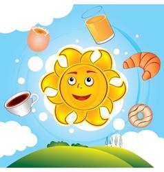Happy cartoon sun cooked breakfast vector