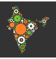 India map silhouette mosaic of cogs and gears vector image vector image