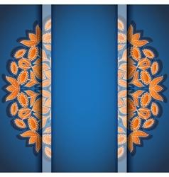 Round floral orange blue invitation card vector image