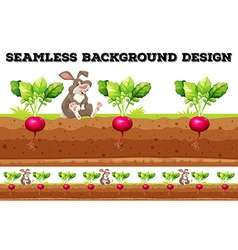 Seamless background with radish and rabbit vector image vector image