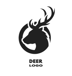Silhouette of the deer monochrome logo vector image