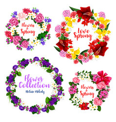 spring flower wreath and floral frame border vector image