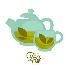 tea time clear glass teapot and cup with herbal vector image vector image