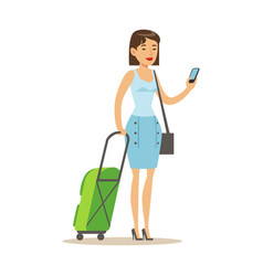 cheerful woman standing with travel suitcases and vector image vector image