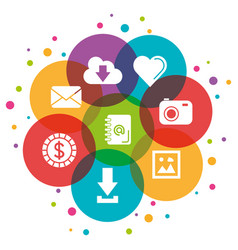 icons of social network color bubble over white vector image