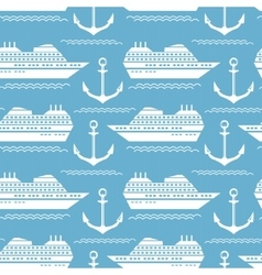 Seamless nautical pattern with ships and anchors vector image