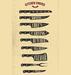 set of hand drawn kitchen knives design elements vector image vector image