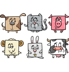 square animals set cartoon vector image