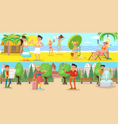 summer vacation horizontal banners vector image vector image