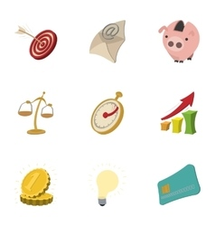 Business icons set cartoon style vector image vector image