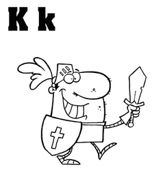 Cartoon knight with letter vector image vector image