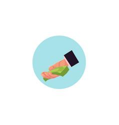 flat man hand giving money vector image