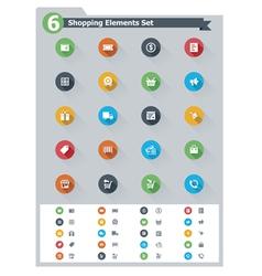 Flat shopping icon set vector image