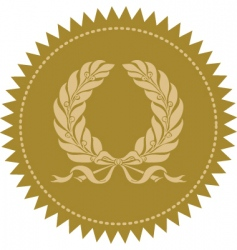gold victory wreath seal vector image vector image