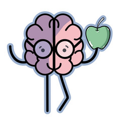 Icon adorable kawaii brain eating apple vector