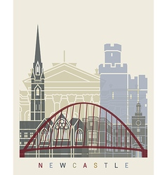Newcastle skyline poster vector image