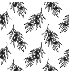 Seamless pattern with olive branch vector