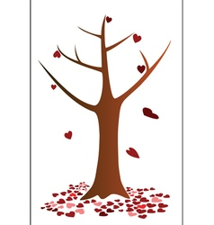 Tree and heart falling down vector image vector image