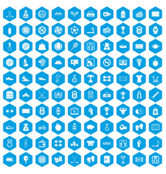 100 basketball icons set blue vector image