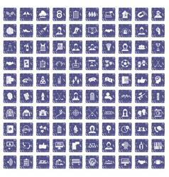 100 team icons set grunge sapphire vector
