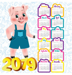 2019 calendar with cute pig vector