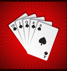 a royal flush of spades on red background winning vector image