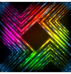 Abstract rainbow neon corners background vector image