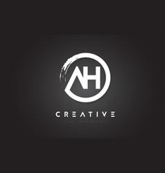 ah circular letter logo with circle brush design vector image
