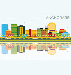 Anchorage skyline with color buildings vector
