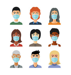avatars in medical masks in flat style vector image