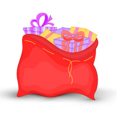 bag santa claus is filled with bright gifts with vector image