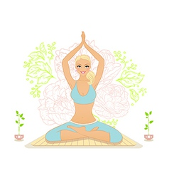 Beautiful woman doing youga exercises vector image