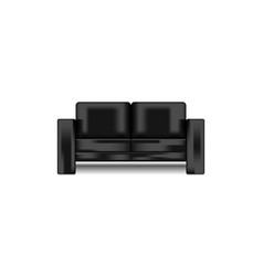 black leather shiny modern sofa isolated on white vector image