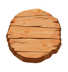 Blank wooden signboard round wood panel with vector