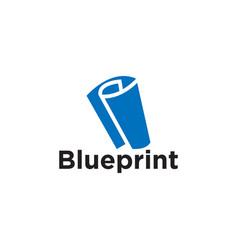 blueprint paper logo icon element template vector image