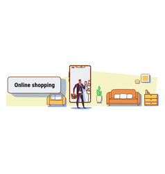 businessman using mobile app online shopping vector image