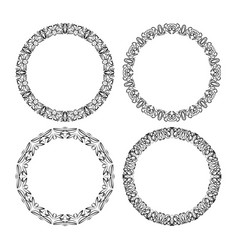 calligraphic circle lace patterns filigree round vector image