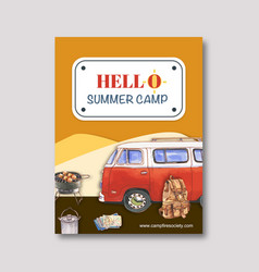 Camping poster design with van grill stove vector