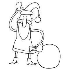 canta claus christmas cartoon coloring book vector image