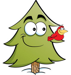 cartoon pine tree with a bird on a branch vector image